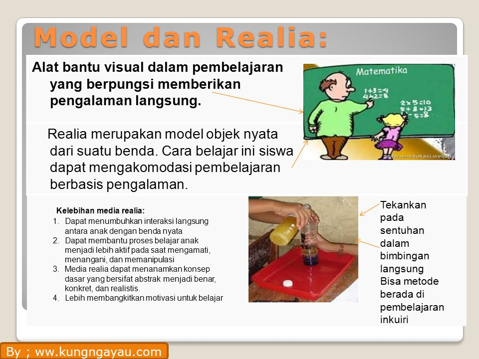 Model dan Realia: Alat bantu visual dalam pembelajaran yang berpungsi memberikan pengalaman langsung.