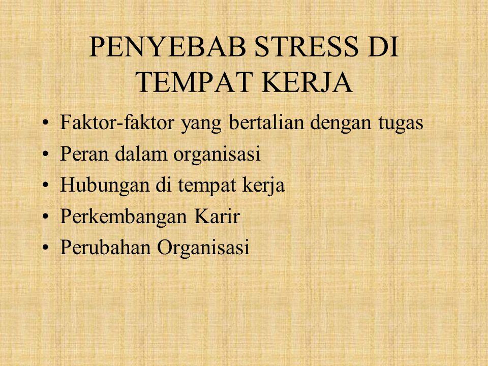 PENYEBAB STRESS DI TEMPAT KERJA