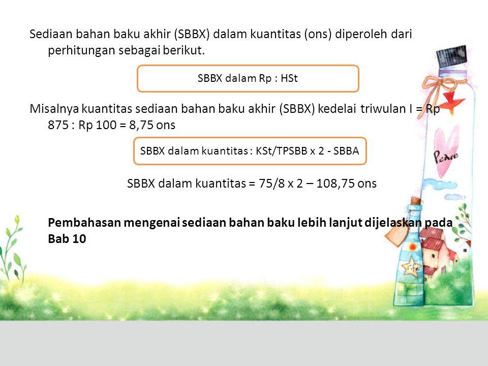 SBBX dalam kuantitas : KSt/TPSBB x 2 - SBBA