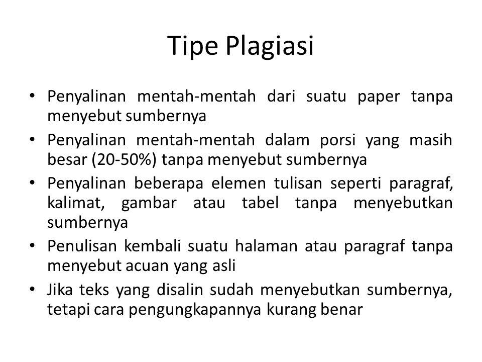 Tipe Plagiasi Penyalinan mentah-mentah dari suatu paper tanpa menyebut sumbernya.