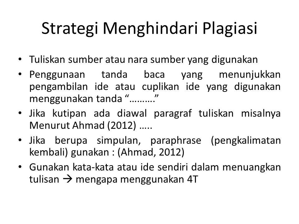 Strategi Menghindari Plagiasi