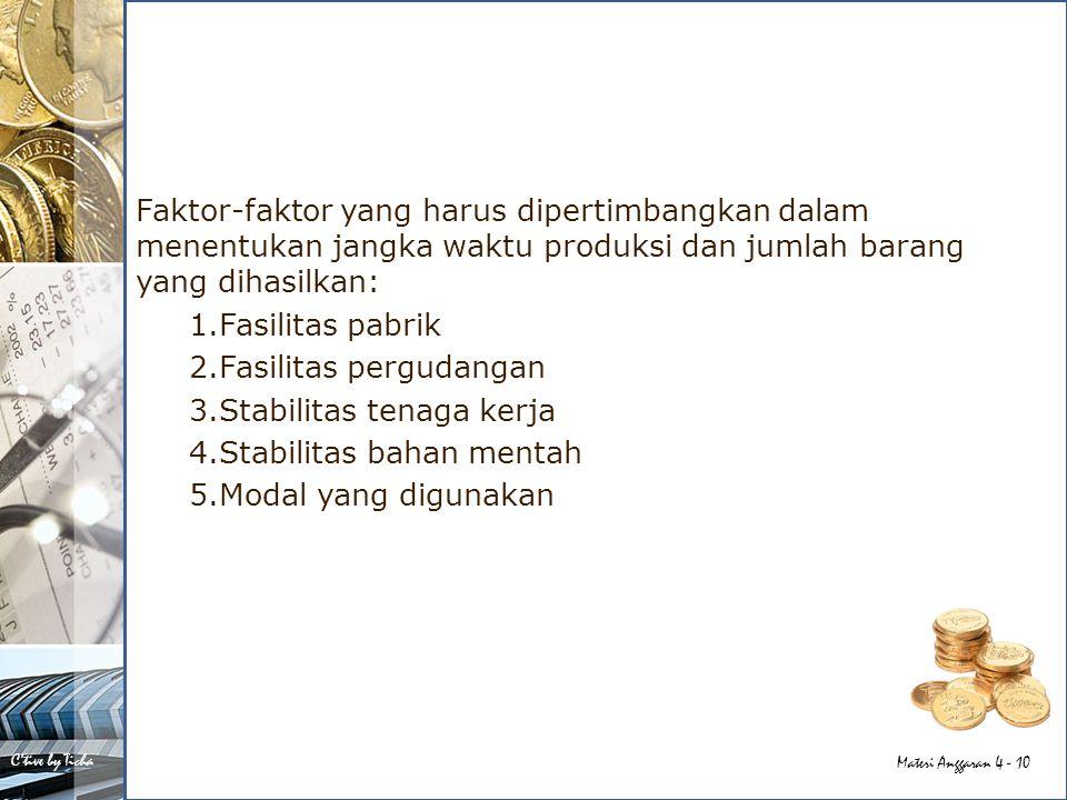 Faktor-faktor yang harus dipertimbangkan dalam menentukan jangka waktu produksi dan jumlah barang yang dihasilkan: