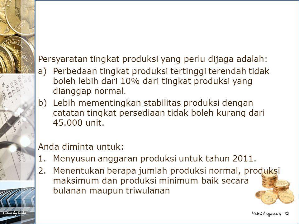 Persyaratan tingkat produksi yang perlu dijaga adalah: