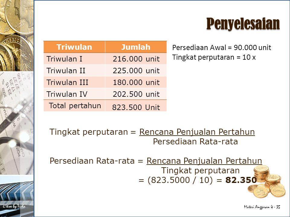 Penyelesaian Persediaan Awal = 90.000 unit Tingkat perputaran = 10 x