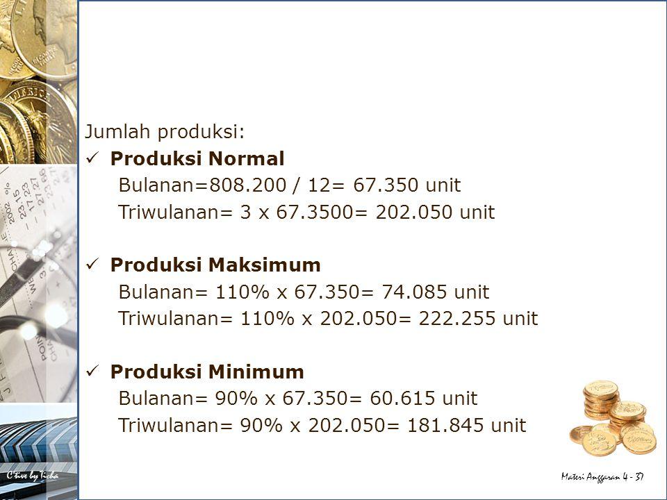 Jumlah produksi: Produksi Normal. Bulanan=808.200 / 12= 67.350 unit. Triwulanan= 3 x 67.3500= 202.050 unit.