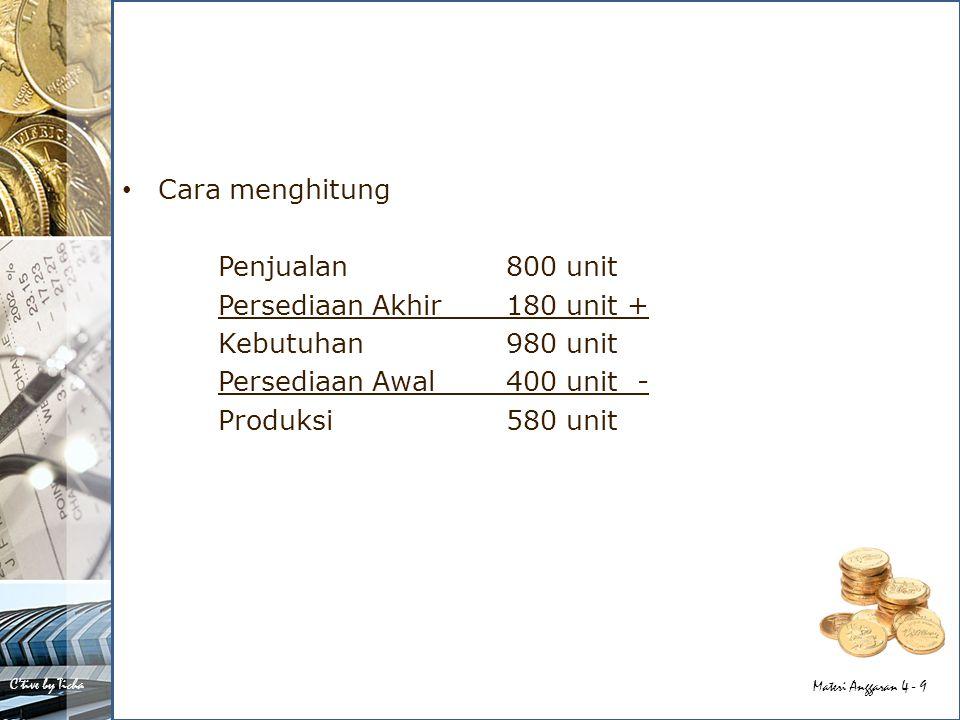 Cara menghitung Penjualan 800 unit. Persediaan Akhir 180 unit + Kebutuhan 980 unit. Persediaan Awal 400 unit -
