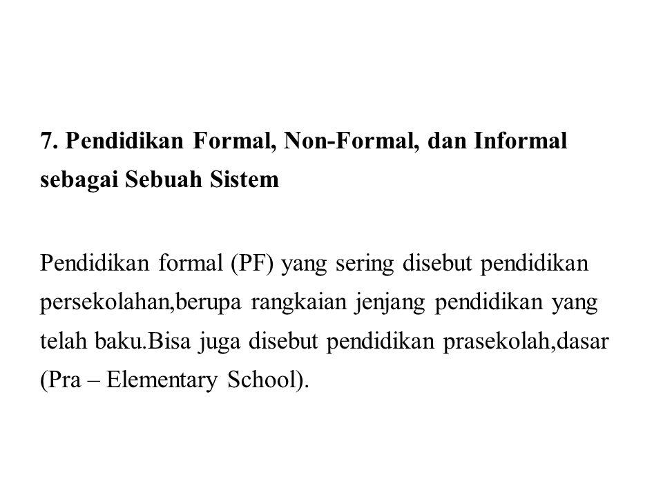 7. Pendidikan Formal, Non-Formal, dan Informal sebagai Sebuah Sistem