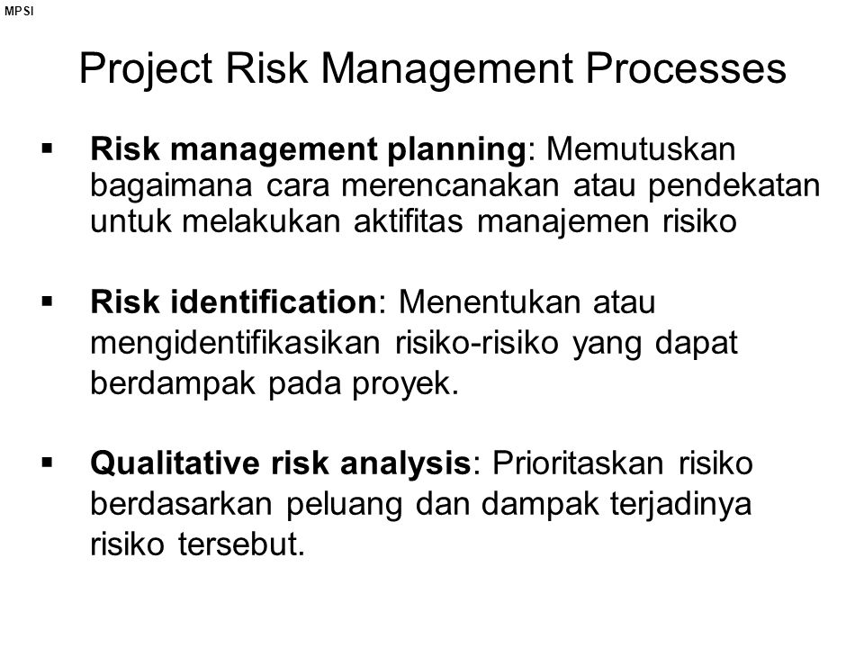 Project Risk Management Processes
