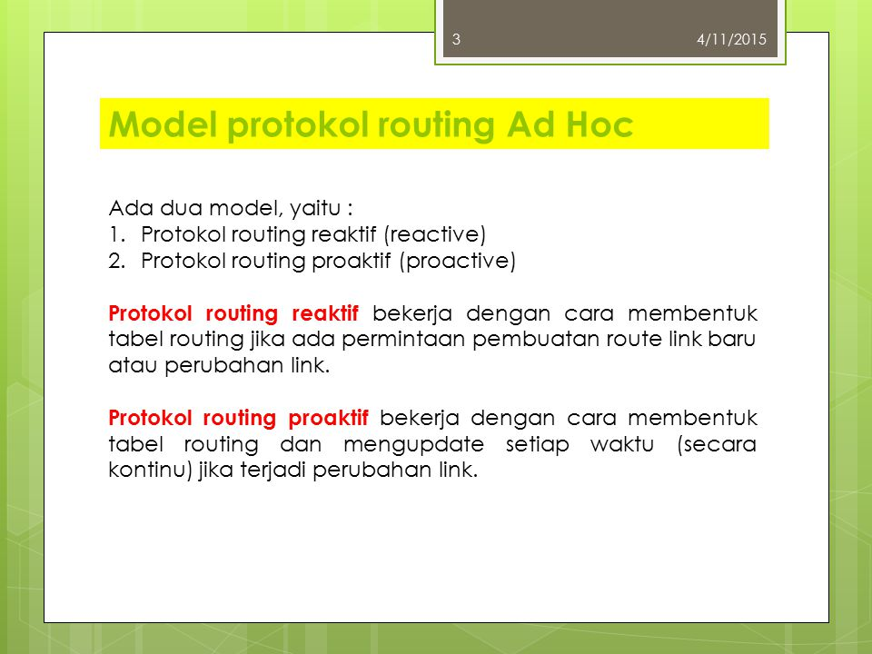 Model protokol routing Ad Hoc