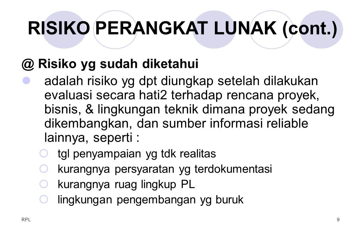 RISIKO PERANGKAT LUNAK (cont.)