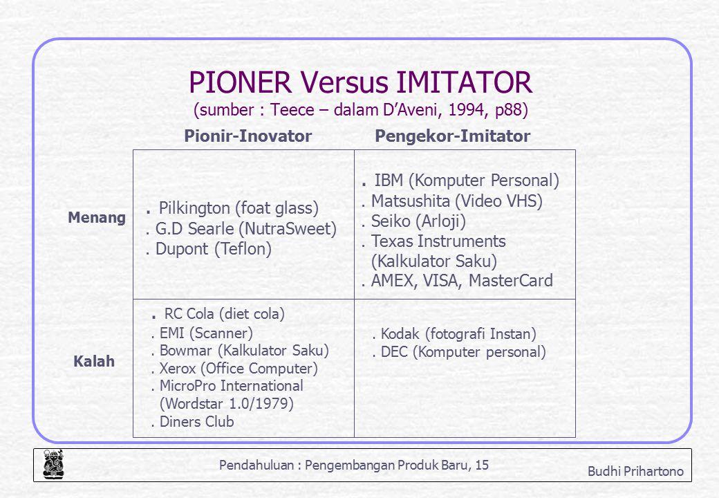 PIONER Versus IMITATOR (sumber : Teece – dalam D'Aveni, 1994, p88)