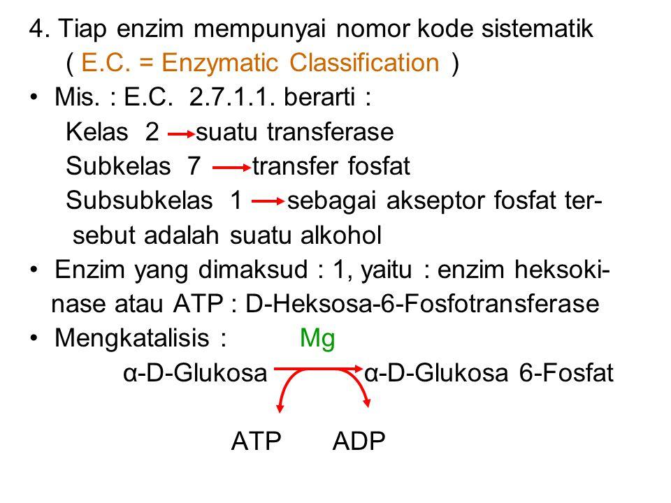 4. Tiap enzim mempunyai nomor kode sistematik