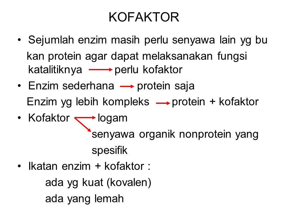 KOFAKTOR Sejumlah enzim masih perlu senyawa lain yg bu