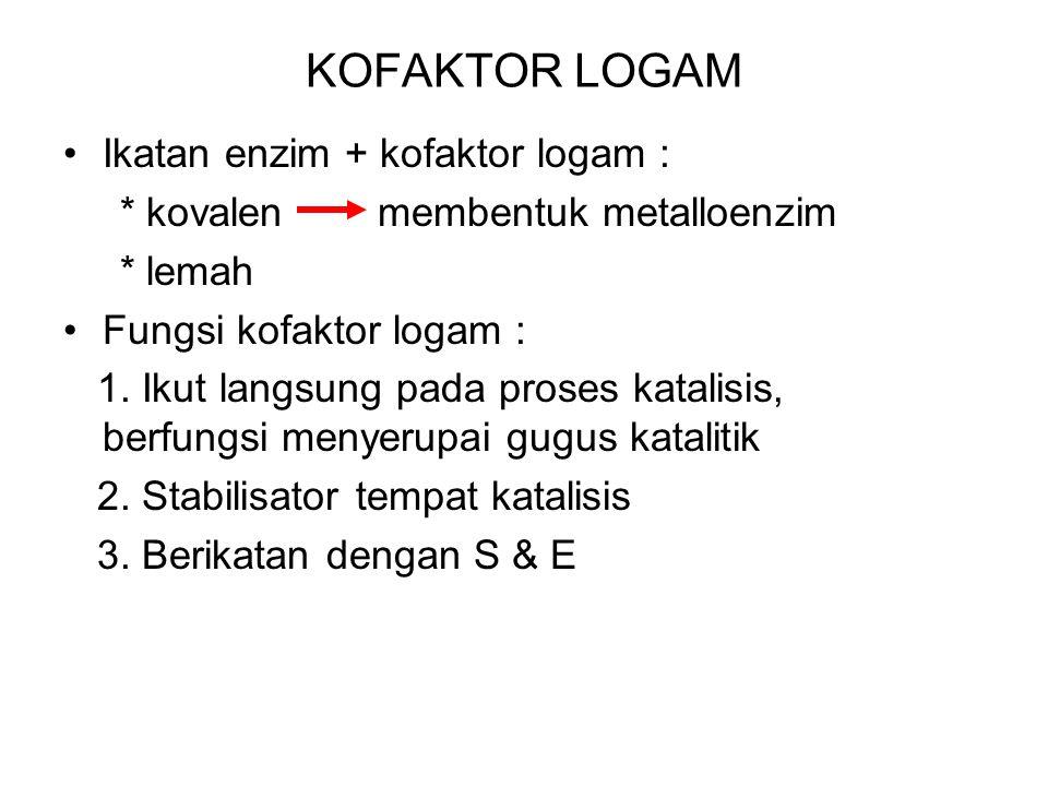 KOFAKTOR LOGAM Ikatan enzim + kofaktor logam :