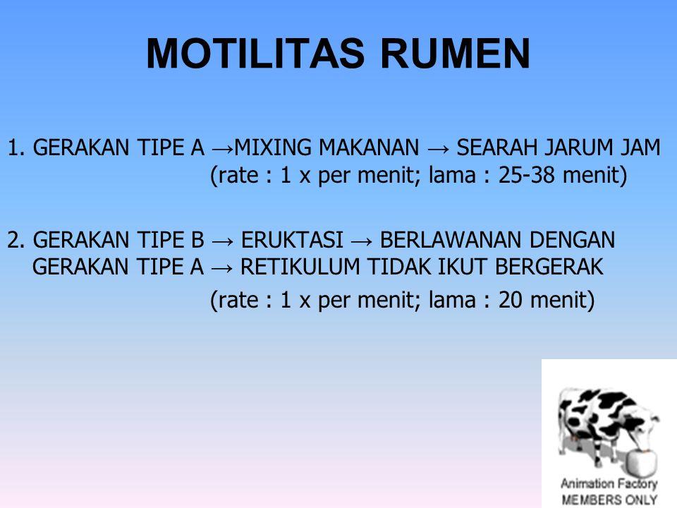 MOTILITAS RUMEN 1. GERAKAN TIPE A →MIXING MAKANAN → SEARAH JARUM JAM (rate : 1 x per menit; lama : 25-38 menit)