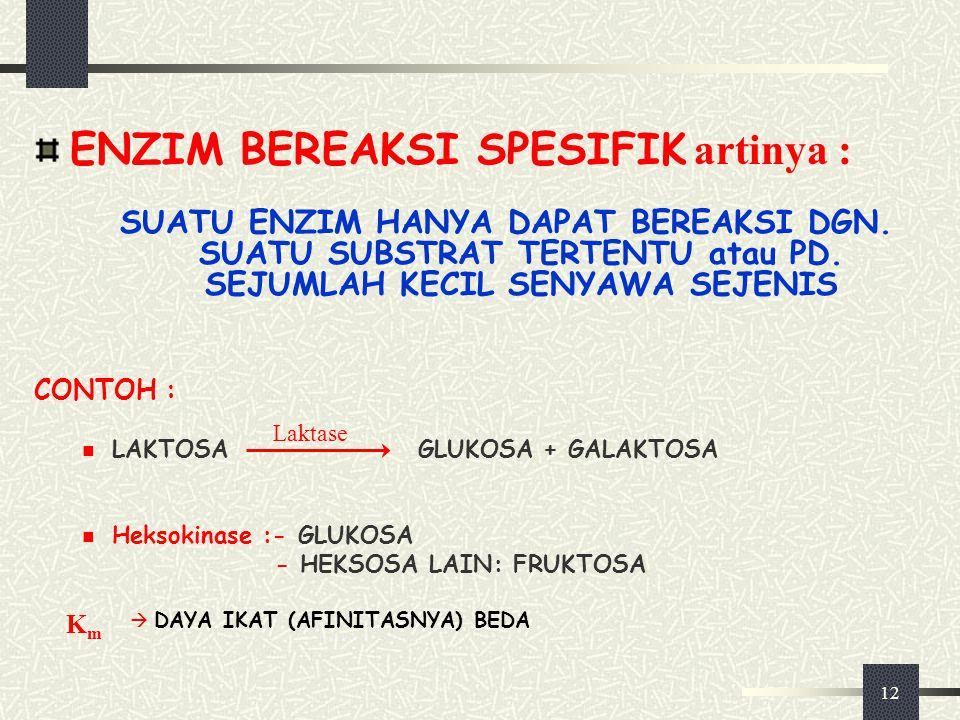 ENZIM BEREAKSI SPESIFIK artinya :