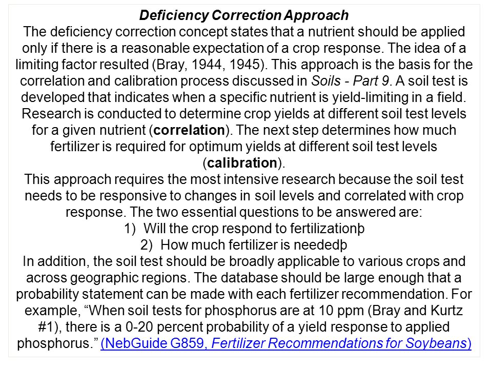 Deficiency Correction Approach