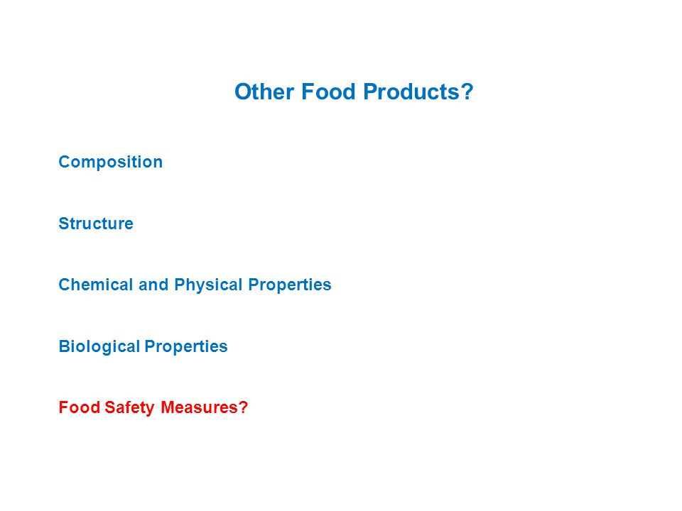 Other Food Products Composition Structure
