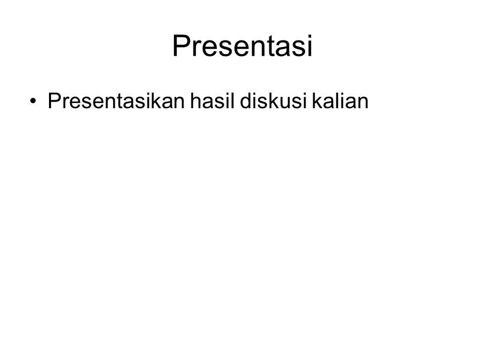 Presentasi Presentasikan hasil diskusi kalian