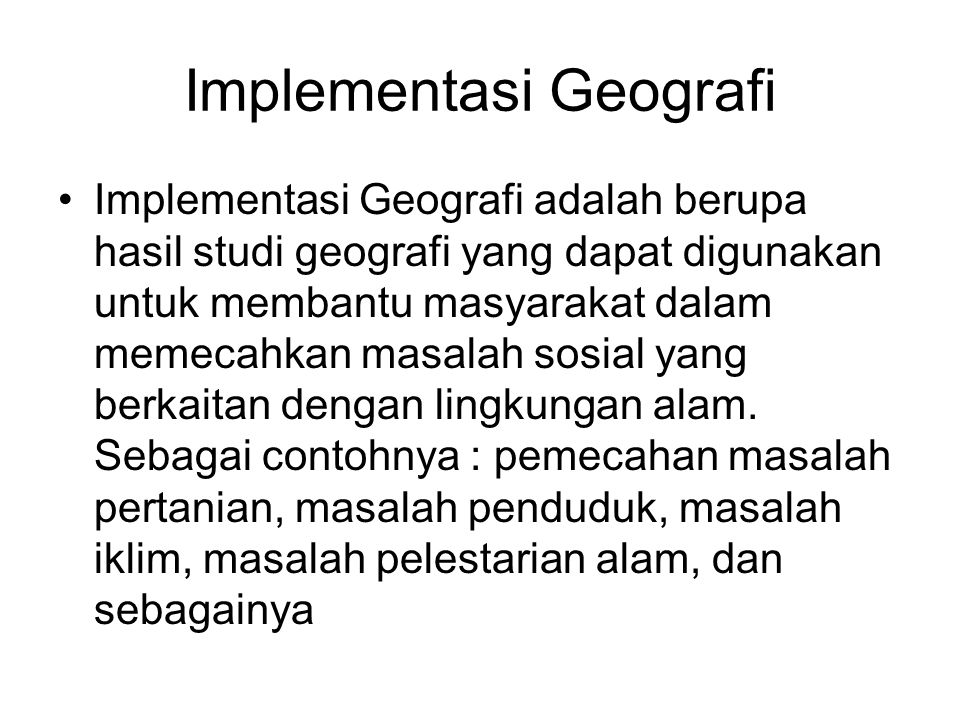 Implementasi Geografi
