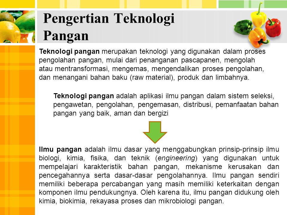 Pengertian Teknologi Pangan