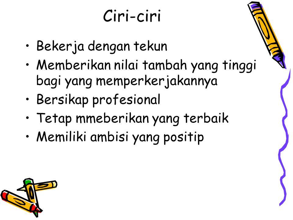 Ciri-ciri Bekerja dengan tekun