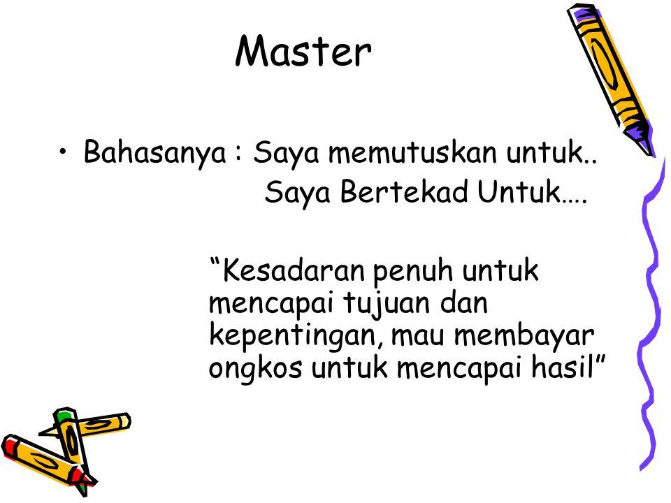Master Bahasanya : Saya memutuskan untuk.. Saya Bertekad Untuk….