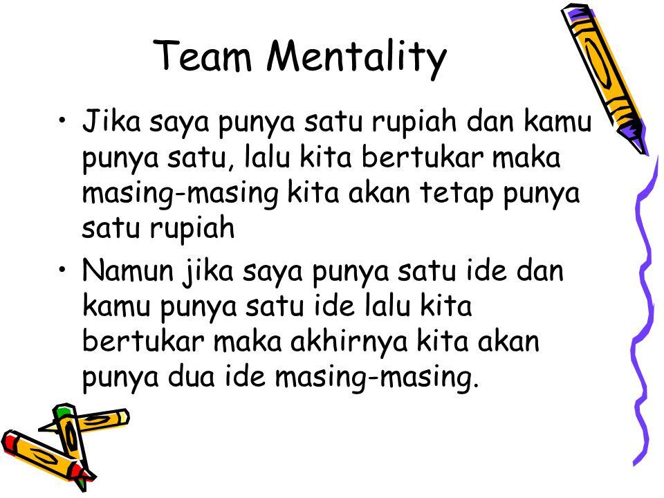 Team Mentality Jika saya punya satu rupiah dan kamu punya satu, lalu kita bertukar maka masing-masing kita akan tetap punya satu rupiah.
