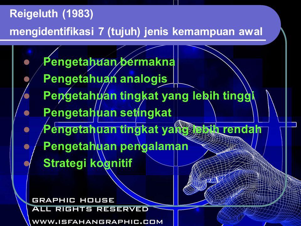 Reigeluth (1983) mengidentifikasi 7 (tujuh) jenis kemampuan awal