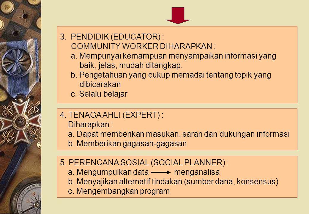 PENDIDIK (EDUCATOR) : COMMUNITY WORKER DIHARAPKAN : a. Mempunyai kemampuan menyampaikan informasi yang.
