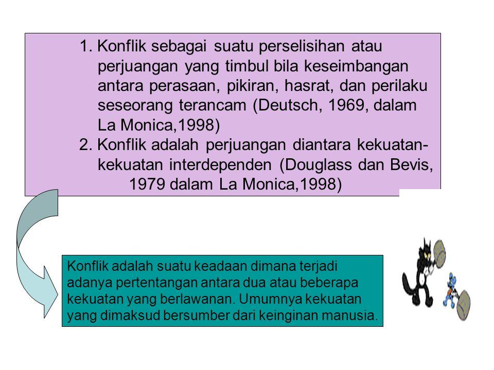 1. Konflik sebagai suatu perselisihan atau perjuangan yang timbul bila keseimbangan antara perasaan, pikiran, hasrat, dan perilaku seseorang terancam (Deutsch, 1969, dalam La Monica,1998)