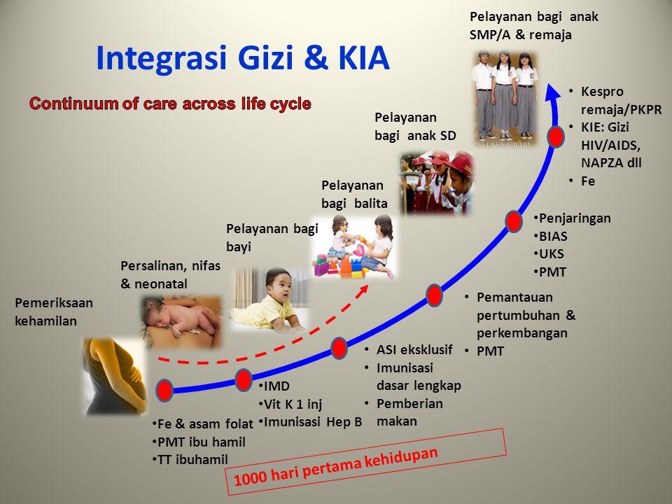 Integrasi Gizi & KIA Continuum of care across life cycle