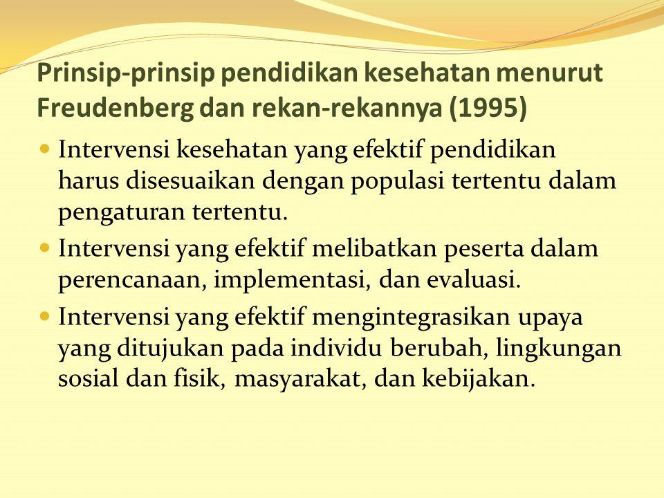 Prinsip-prinsip pendidikan kesehatan menurut Freudenberg dan rekan-rekannya (1995)
