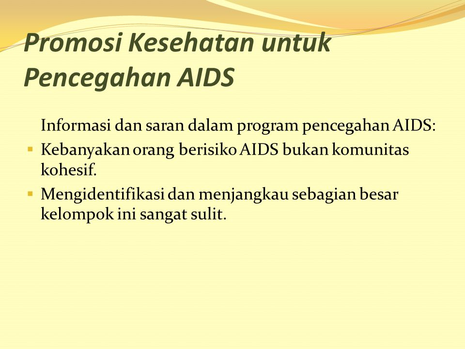 Promosi Kesehatan untuk Pencegahan AIDS