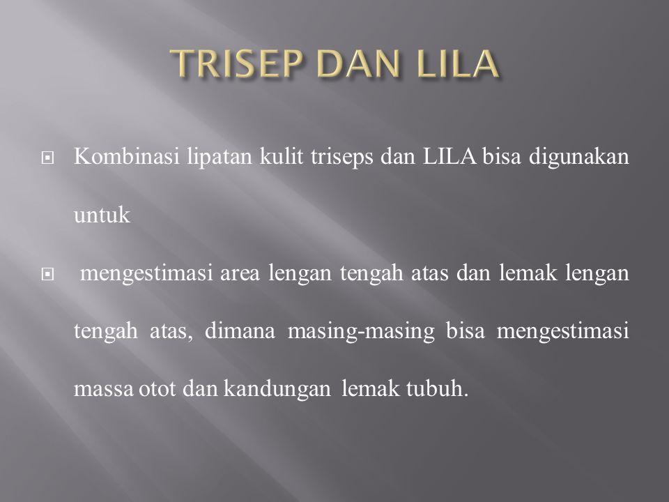 TRISEP DAN LILA Kombinasi lipatan kulit triseps dan LILA bisa digunakan untuk.
