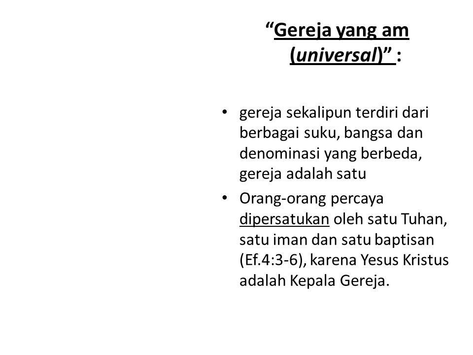 Gereja yang am (universal) :