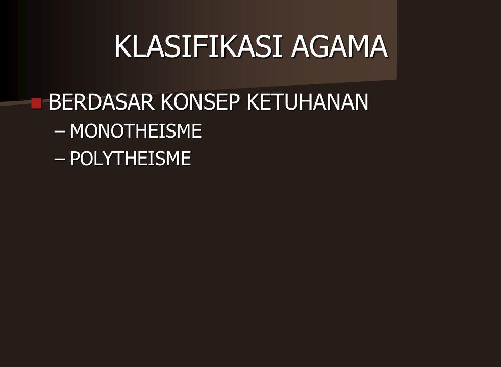 KLASIFIKASI AGAMA BERDASAR KONSEP KETUHANAN MONOTHEISME POLYTHEISME