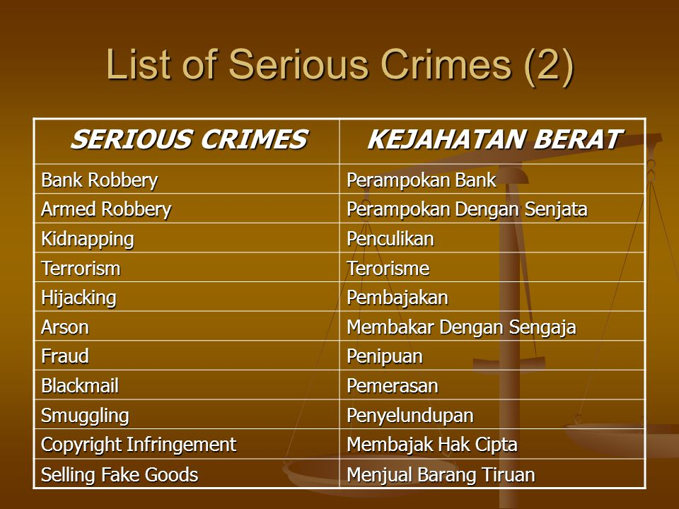 List of Serious Crimes (2)