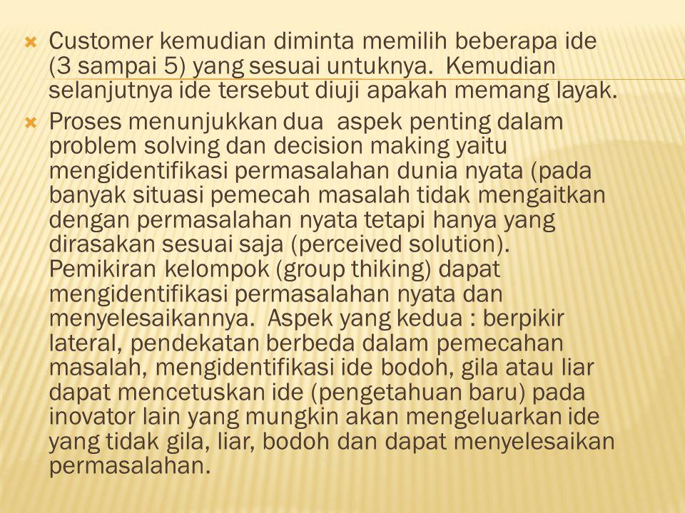 Customer kemudian diminta memilih beberapa ide (3 sampai 5) yang sesuai untuknya. Kemudian selanjutnya ide tersebut diuji apakah memang layak.