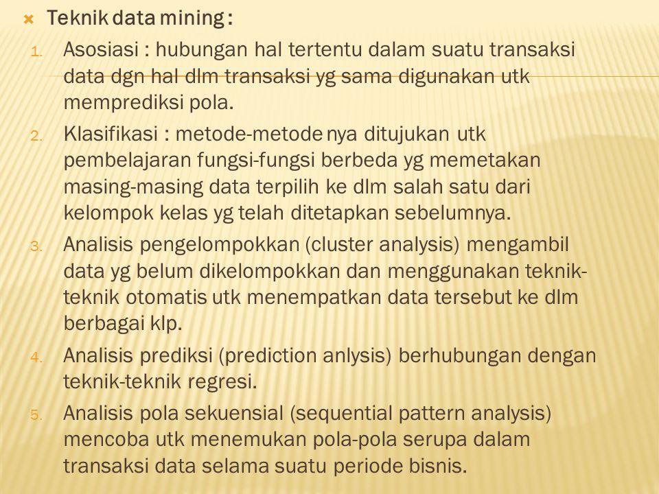 Teknik data mining : Asosiasi : hubungan hal tertentu dalam suatu transaksi data dgn hal dlm transaksi yg sama digunakan utk memprediksi pola.