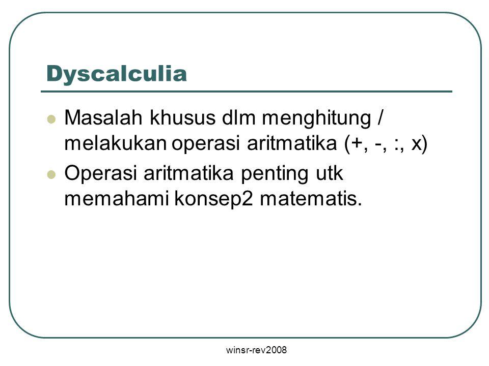 Dyscalculia Masalah khusus dlm menghitung / melakukan operasi aritmatika (+, -, :, x) Operasi aritmatika penting utk memahami konsep2 matematis.
