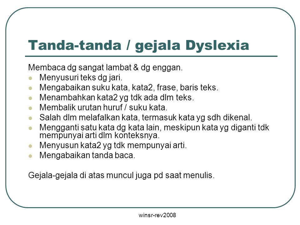 Tanda-tanda / gejala Dyslexia