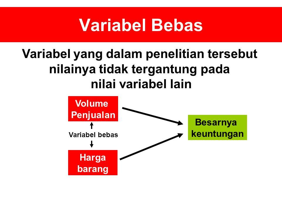 Variabel yang dalam penelitian tersebut nilainya tidak tergantung pada