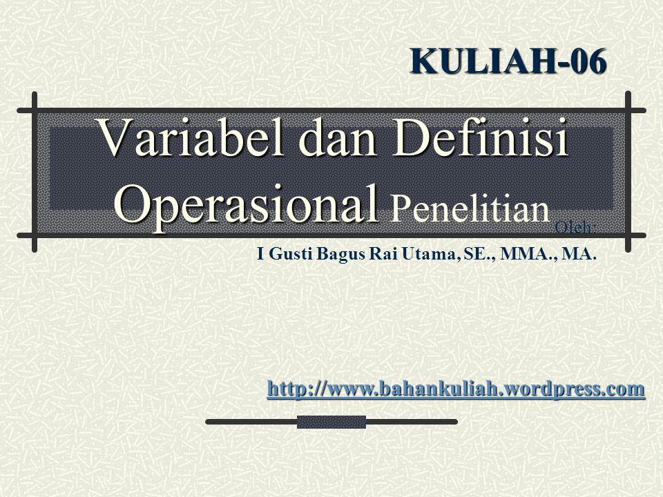 Variabel dan Definisi Operasional Penelitian