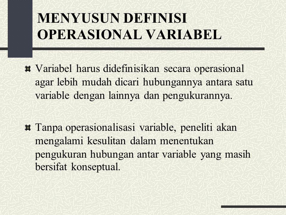 MENYUSUN DEFINISI OPERASIONAL VARIABEL