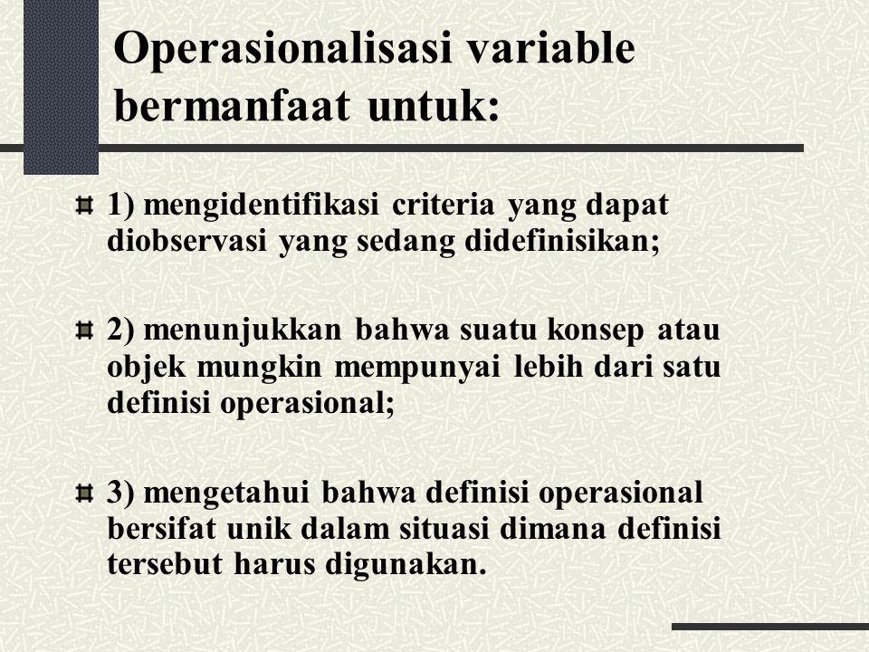 Operasionalisasi variable bermanfaat untuk: