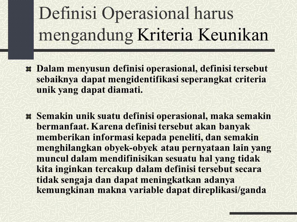 Definisi Operasional harus mengandung Kriteria Keunikan