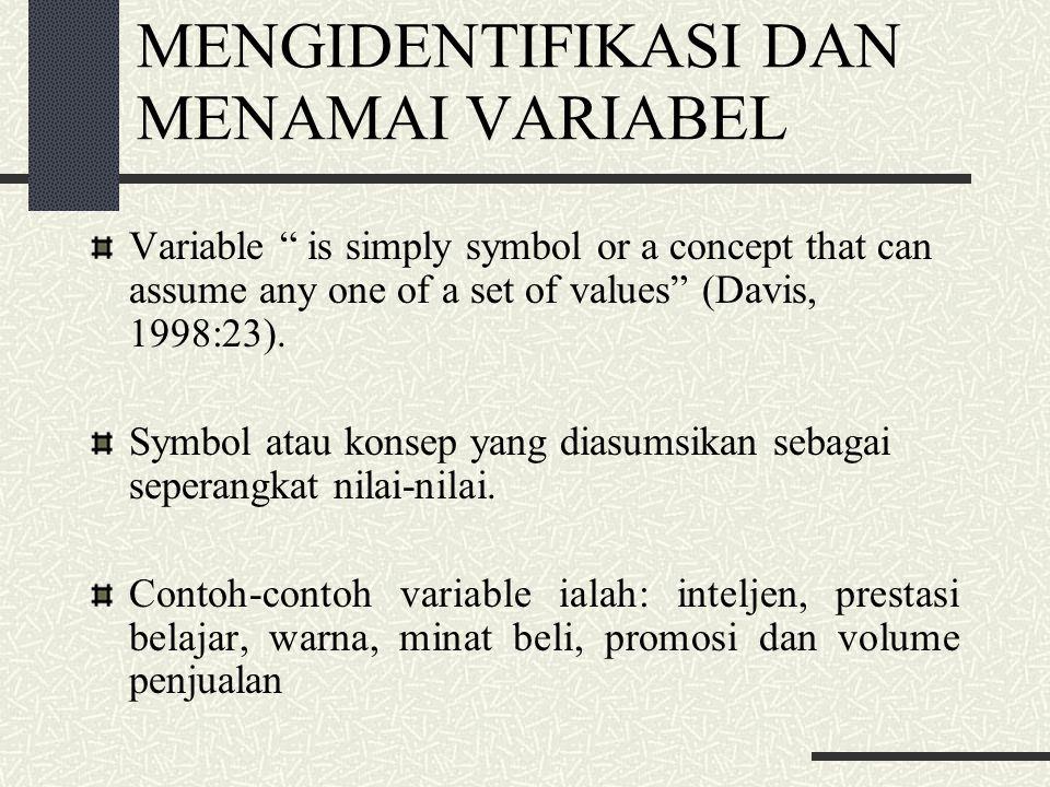 MENGIDENTIFIKASI DAN MENAMAI VARIABEL