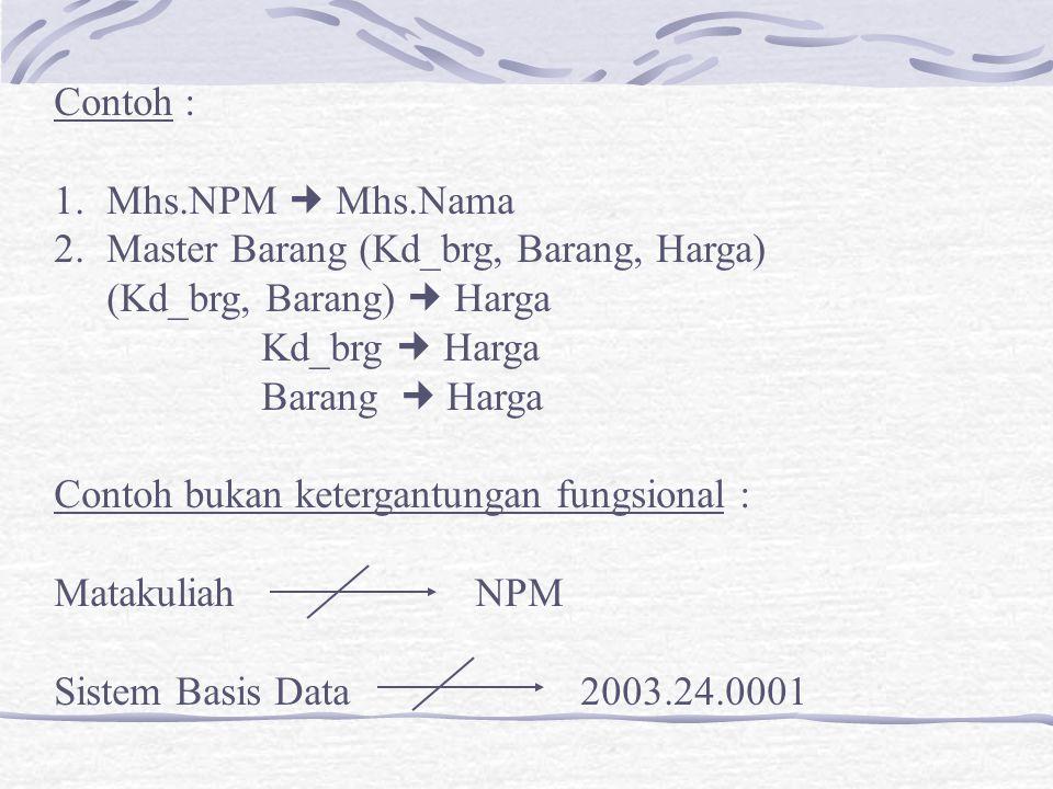 Contoh : Mhs.NPM  Mhs.Nama. Master Barang (Kd_brg, Barang, Harga) (Kd_brg, Barang)  Harga. Kd_brg  Harga.