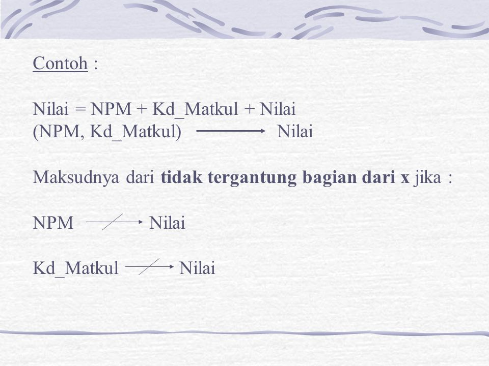 Contoh : Nilai = NPM + Kd_Matkul + Nilai. (NPM, Kd_Matkul) Nilai. Maksudnya dari tidak tergantung bagian dari x jika :